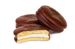 Tas de biscuit de chocolat bourré Images libres de droits