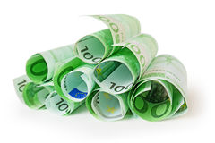 Tas de 100 euro billets de banque Images libres de droits