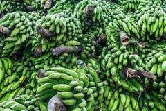 Tas des bananes vertes d'un marché images stock
