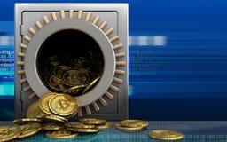 tas des bitcoins 3d au-dessus de cyber Photo libre de droits