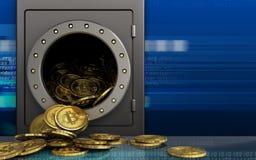 tas des bitcoins 3d au-dessus de cyber Photos libres de droits