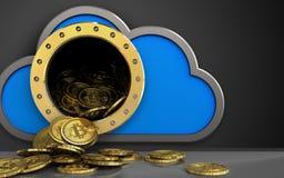 tas des bitcoins 3d au-dessus de noir Photo libre de droits