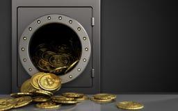 tas des bitcoins 3d au-dessus de noir Images libres de droits