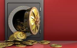 tas des bitcoins 3d au-dessus du rouge Image stock