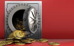 tas des bitcoins 3d au-dessus du rouge Photo libre de droits