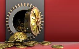 tas des bitcoins 3d au-dessus du rouge Photo stock