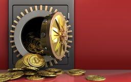 tas des bitcoins 3d au-dessus du rouge Photographie stock