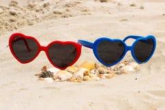 Tas des coquilles et des lunettes de soleil sur le sable à la plage Image stock