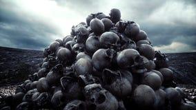 Tas des crânes Concept d'apocalypse et d'enfer rendu 3d illustration libre de droits
