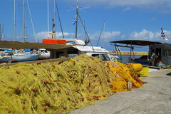 Tas des filets de pêche Image stock