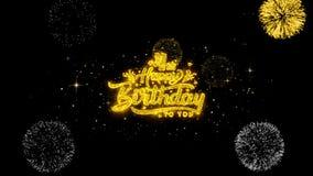 4tas partículas de oro del centelleo del texto del feliz cumpleaños con la exhibición de oro de los fuegos artificiales stock de ilustración