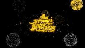 6tas partículas de oro del centelleo del texto del feliz cumpleaños con la exhibición de oro de los fuegos artificiales ilustración del vector