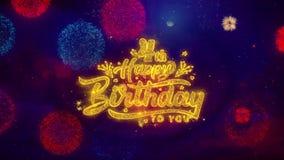 4tas partículas de saludo de la chispa del texto del feliz cumpleaños en los fuegos artificiales coloreados