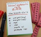 Tasa metabólica básica, BMR Fotos de archivo libres de regalías