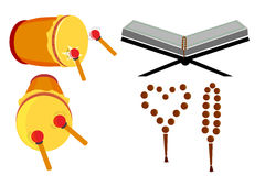Tasbih, Al Quran e Bedug ilustração stock