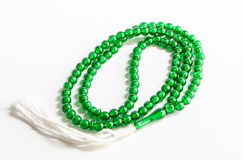 Tasbih. Green muslims Tasbih Stock Image