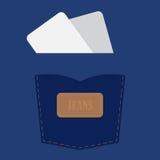 Tasca dei jeans con la carta in bianco. Immagini Stock Libere da Diritti