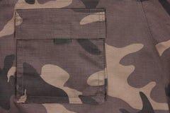 Tasca marrone del camoflauge del primo piano (posteriore) Immagini Stock