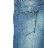 Tasca posteriore delle blue jeans isolate su bianco Immagine Stock Libera da Diritti