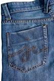 Tasche auf Jeans Lizenzfreie Stockfotografie