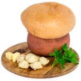 Tasche della carne sul piatto di legno Immagini Stock