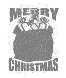 Tasche der frohen Weihnachten mit Geschenken in der Schmutzart Großer roter Sack von Stockbilder