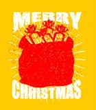 Tasche der frohen Weihnachten mit Geschenken Großer roter Sack von Santa Claus in g Lizenzfreies Stockfoto