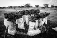 Tasche der Holzkohle entlang der Straße in Afrika Stockfoto