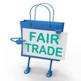 Tasche des fairen Handels stellt gleiche Angebote und Austausch dar Stockfotografie
