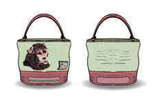 Tasche für Frauen vom Druck ein Affe Taschenbequemlichkeit für Frauen Stockfoto