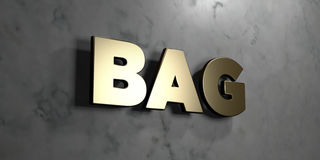 Tasche - Goldzeichen angebracht an der glatten Marmorwand - 3D übertrug freie Illustration der Abgabe auf Lager Stockfotografie