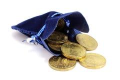 Tasche mit russische Münzen Stockfotos