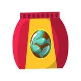 Tasche mit Süßigkeits-Snack, Kino und Film-Theater-in Verbindung stehende Gegenstand-Karikatur-bunter Vektor-Illustration Lizenzfreies Stockbild