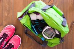 Tasche mit Zubehör für Sport Stockfotografie