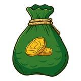 Tasche voll von Goldmünzen stock abbildung