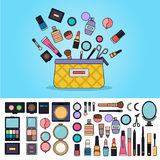 Tasche voll von Kosmetik Lizenzfreies Stockfoto