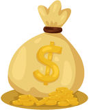 Tasche von Goldmünzen Stockfoto