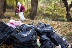 Taschen des Abfalls liegend im Park Stockfotos
