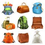 Taschen eingestellt Ikone des Vektor 3d Lizenzfreies Stockfoto