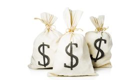 Taschen voll des Geldes in einem weißen Hintergrund lizenzfreies stockbild