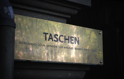 TASCHEN art book publisher sign entrance Royalty Free Stock Photos