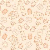 Taschen und nahtloses Muster der Koffer Stockfotos
