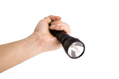 Taschenlampe in der Hand, Lizenzfreies Stockfoto