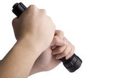 Taschenlampe in der Hand, Stockfotografie
