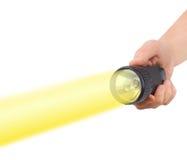 Taschenlampe in der Hand Stockfotos