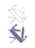 Taschenmesserschattenbild Lizenzfreies Stockbild