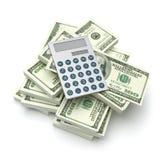 Taschenrechner auf Dollarscheine Lizenzfreies Stockbild
