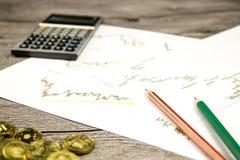 Taschenrechner, Bleistifte und Münzen auf graffica, das Dow Jones auf Devisen vermarkten Lizenzfreie Stockfotografie