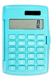 Taschenrechner in der Türkisfarbe mit Sonnenkollektor Lizenzfreies Stockfoto