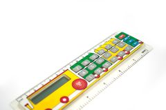 Taschenrechner für Schulkinder In Form einer Linie mit dem Bild eines paravoz Stockfotos